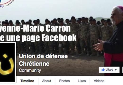 """Cheyenne-Marie Carron lance une page Facebook : """"Union de défense chrétienne"""""""