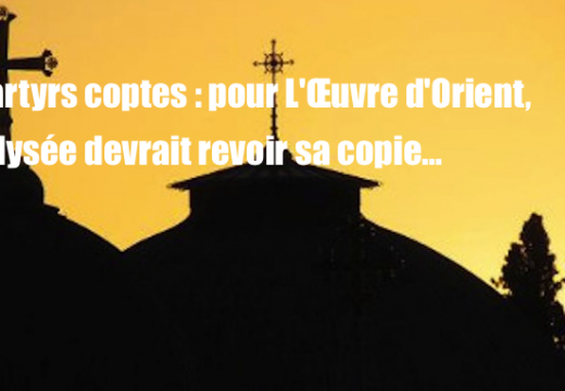 Martyrs coptes : pour l'Œuvre d'Orient, l'Élysée doit revoir sa copie