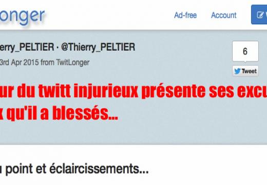 Twitt odieux : Thierry Peltier exprime ses regrets à ceux qu'il a blessés, mais…