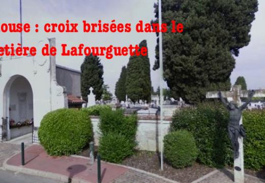 Toulouse : croix brisées dans le cimetière de Lafourguette