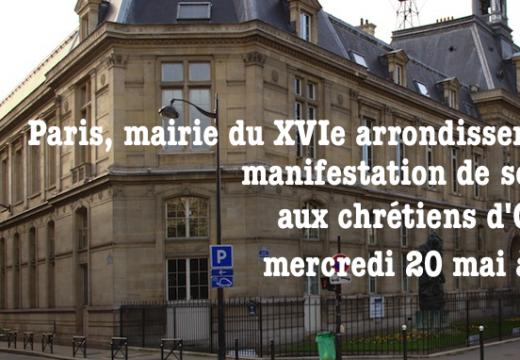 Paris : manifestation de soutien aux chrétiens d'Orient à la mairie du XVIe