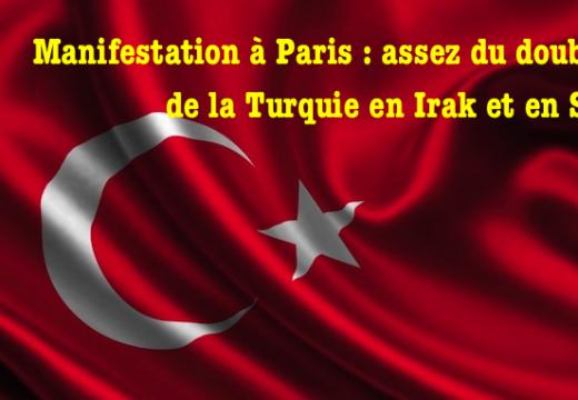 Paris : manifestation contre le double jeu de la Turquie en Irak et en Syrie