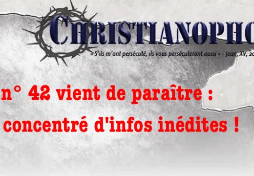 """Le n° 42 de """"Christianophobie hebdo"""" vient de paraître"""