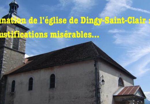 Profanation de l'église de Dingy-Saint-Clair : des justifications irrecevables et outrageantes
