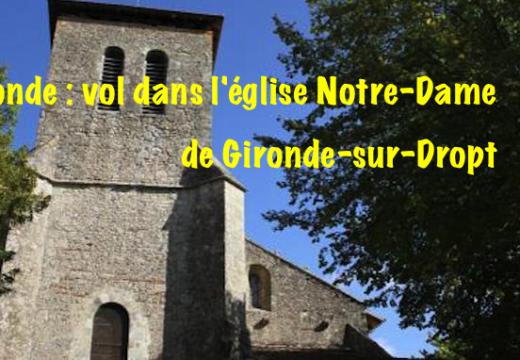 Gironde : vol dans une église de Gironde-sur-Dropt