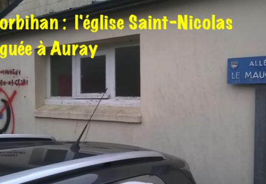 Morbihan : tags sur l'église Saint-Nicolas à Auray