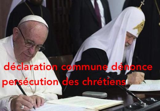 François et Cyrille unis dans dénonciation de la persécution des chrétiens dans le monde