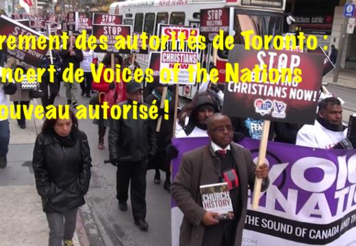Toronto : le concert de Voices of the Nations de nouveau autorisé !