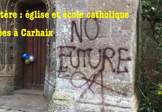 Finistère : église et école catholique taguées à Carhaix-Plougher