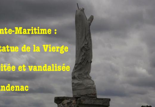 Charente-Maritime : statue de la Vierge vandalisée et décapitée à Chadenac