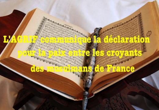 Déclaration pour la paix entre les croyants des musulmans de France