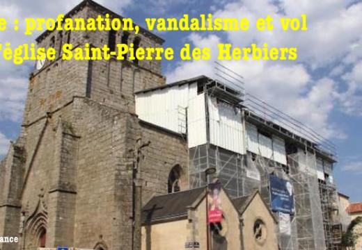 Vendée : l'église Saint-Pierre profanées aux Herbiers