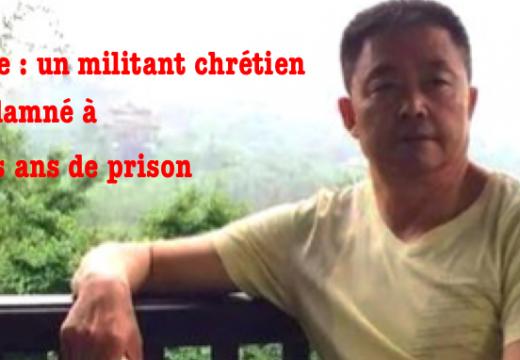 Chine : un militant chrétien condamné à trois ans de prison