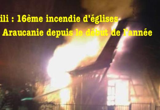 Chili : une nouvelle église incendiée en Araucanie