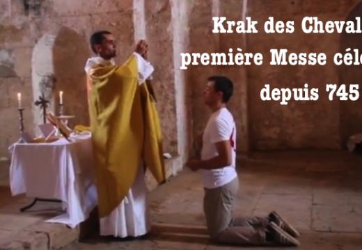 Émotion ! Une Messe célébrée dans le Krak des Chevaliers…
