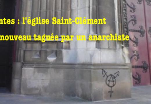 Nantes : tag anarchiste sur l'église Saint-Clément