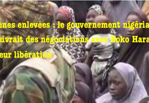 Lycéennes nigérianes enlevées : le gouvernement négocierait avec Boko Haram leur libération