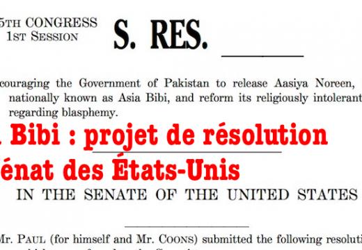 Asia Bibi : projet de résolution du Sénat des États-Unis