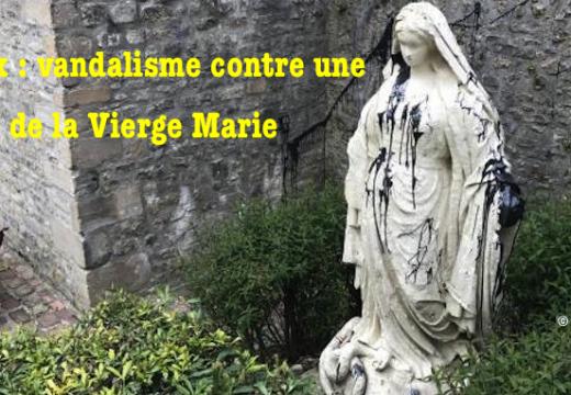 Bayeux : une statue de la Vierge souillée de peinture noire