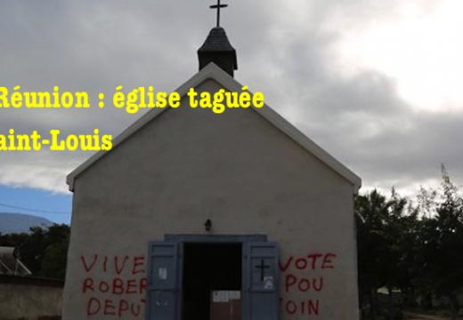 La Réunion : tags politiques sur une chapelle à Saint-Louis