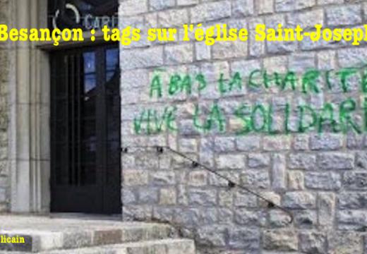 Besançon : tags sur l'église Saint-Joseph