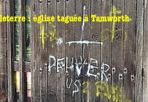 Angleterre : église taguée à Tamworth
