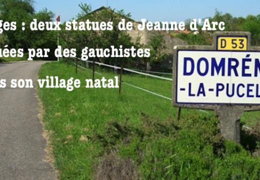 Domrémy-la-Pucelle : statues de Jeanne d'Arc taguées