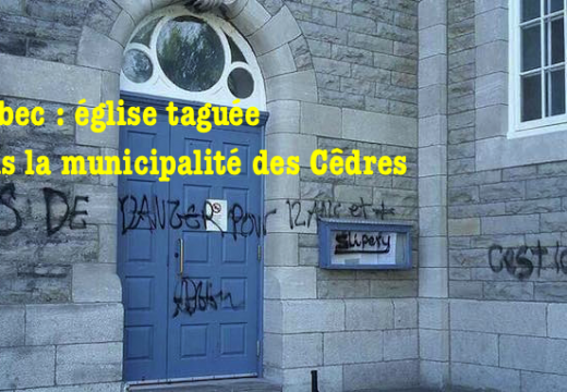 Québec : église taguée dans la municipalité des Cêdres