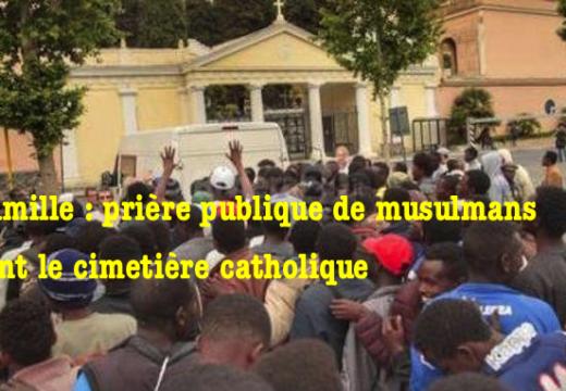 Vintimille : prière musulmane devant le cimetière catholique