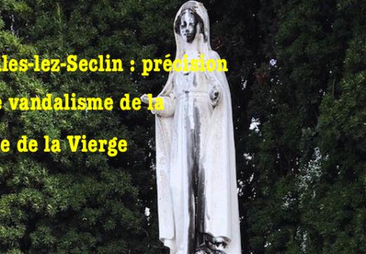 Noyelles-lez-Seclin : précision sur le vandalisme d'une statue de la Vierge