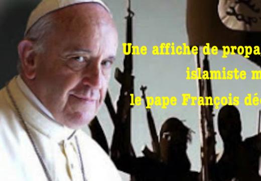 Le pape décapité sur une affiche de propagande islamiste