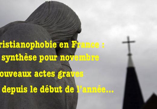 Christianophobie en France : notre synthèse pour novembre 2017