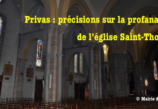 Privas : précisions sur la profanation dans l'église Saint Thomas