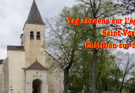 Châtillon-sur-Seine : tag obscène sur une église