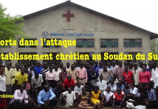 Plusieurs morts dans l'attaque d'un collège chrétien au Soudan du Sud