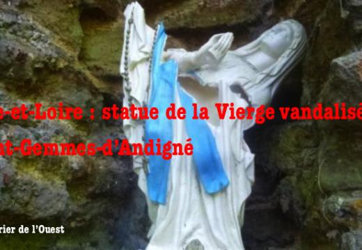 Statue de la Vierge vandalisée à Saint-Gemmes-d'Andigné