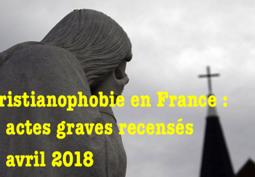 Christianophobie en France : plus d'un cas par jour en avril !