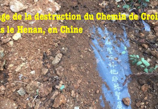 Images de la destruction du Chemin de Croix dans le Henan
