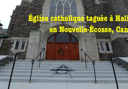 Église taguée à Halifax en Nouvelle-Écosse