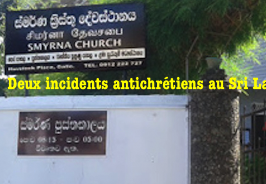 Deux incidents antichrétiens au Sri Lanka